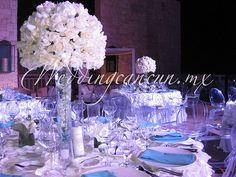 White floral bouquet, roses, high centerpieces, reception, table decoration