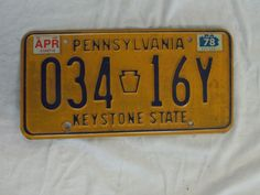 1978 1981 VINTAGE PENNSYLVANIA STATE LICENSE PLATE 034 16Y