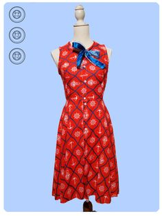 hand made dress with vintage fabric, fifties remake