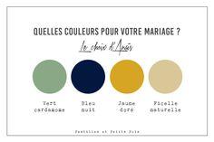 Idée originale de couleurs pour votre mariage et décoration de tables de mariage - vert cardamome + bleu nuit + jaune doré + ficelle naturelle // papeterie pastilles et petits pois