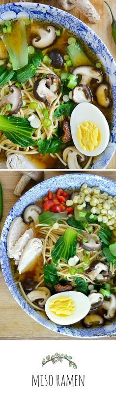 Miso Ramen with Shitake and Chicken - Japanese ramen noodles are healthy, satisfying, and endlessly variable!