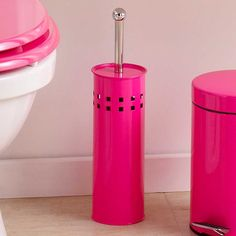 Hot Pink Toilet Bowl Brush Coloured Bathroom Bathlinen Accessories Home