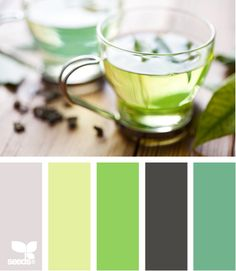Herbal Tones: Tawny Gray, Lemon Lime Green, Apple Green, Dark Gray and Greenish Teal