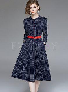 71d5fd22657f Shop V-neck Long Sleeve Polka Dot High Waist Skater Dress at EZPOPSY.  Discover