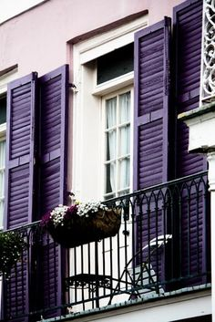 window shutters, new orleans, shades of purple, color, violet, french quarter, balconi, dream houses, window boxes