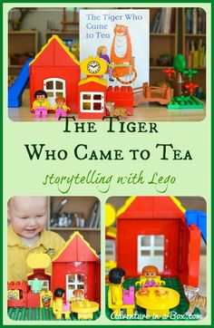 The Tiger Who Came to Tea. Children love reading picture books and playing with Lego! Two of these favourite activities combined; we are very fond of storytelling with Lego. Eyfs Activities, Outdoor Activities For Kids, Learning Activities, Preschool Activities, Communication And Language Activities, Tuff Spot, Paws And Claws, Learning Through Play, Book Projects