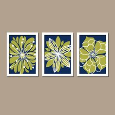 Navy Blue Olive Green White Flower Burst Outline Dahlia Floral Bloom Artwork Set of 3 Prints WALL Decor Abstract ART Bedroom Bathroom Three