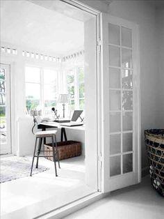 Décor de Provence: Tine K Of Denmark – Modern Home Office Design Home Office Space, Office Workspace, Home Office Design, House Design, Sunroom Office, Artist Workspace, Workspace Design, White Interior Design, Home Interior