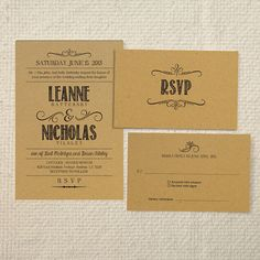 DIY Kraft Paper Wedding Invitation & Reply - Handlettered Rustic Love - Printable PDF Templates - Instant Download