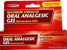 Oral Analgesic Gel Maximum Strength 20% Benzocaine .42oz ... https://www.amazon.com/dp/B002VPS446/ref=cm_sw_r_pi_dp_x_QUxIybB9W3F39