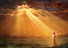 picture of jesus christ with outstretched arms in the middle of a flock of sheep and rays of sunlight poking through the cloudy skies Pictures Of Jesus Christ, Bible Pictures, Jesus E Maria, Christian Artwork, Lds Art, Jesus Painting, Prophetic Art, Biblical Art, Light Of The World