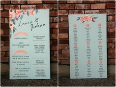 Another colour scheme that is so big right now is mint + coral/peach. We loved these signs we designed for Laura & Julian's wedding last weekend! #coral #peach #mint #frameless #welcomesign #timeline #tablelayoutchart #personalisedsigns #lauraandjulian #designedbycressylane