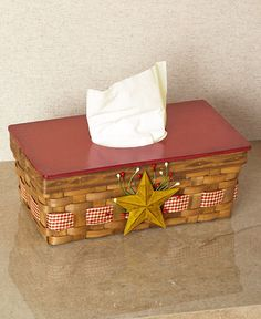Country Star Tissue Box Covers Rectangle Primitive Bathroom Home Decoration #Unbranded