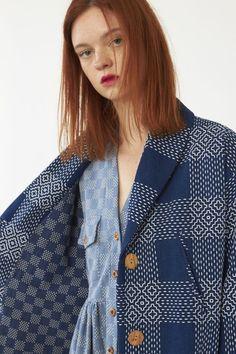 Heinui - ROSINE coat (heavy indigo sashiko-embroidered cotton), xs