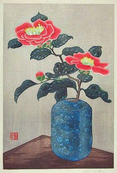 Mokuchu Urushibara - Camelia in Blue Vase - artelino Art Auctions. Japanese Artwork, Japanese Prints, Chinese Painting, Chinese Art, Chinese Bamboo, Cherry Blossom Art, Art Japonais, Acrylic Painting Techniques, Japanese Flowers