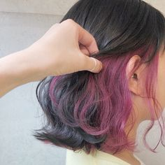 Hair Color Streaks, Hair Color Purple, Purple Peekaboo Hair, Hidden Hair Color, Hair Color Underneath, Dye My Hair, Underdye Hair, Hair Bangs, Hair Color Techniques