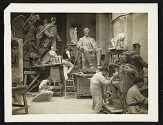 Citation: Adolph Weinman at work, ca. 1906 / J. H. (James H.) Hare, photographer. Adolph A. Weinman papers, Archives of American Art, Smithsonian Institution.
