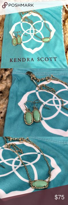 Kendra Scott Elisa necklace & Ellie earrings Only worn twice! Sea foam green with gold. This is a set in great condition and looking for a new home! Kendra Scott Jewelry Necklaces