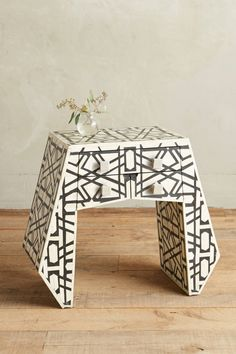 Deco Bone Inlay Black and White Nightstand Unique Furniture, Home Furniture, Furniture Design, Cream Furniture, Geometric Furniture, Furniture Storage, Furniture Styles, Furniture Projects, Bedroom Furniture