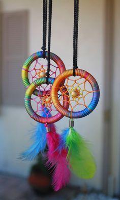 Rainbow Pastel Dream catcher Necklace