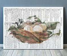 Gorgeous Dictionary print for your home and office. Amazing Bird nest poster. Adorable Watercolor decor. Pretty modern Bird print.    SIZES: A4