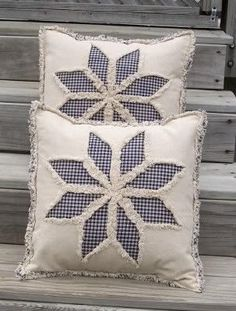 Rag Quilt 8 Point Star Pillow Cover E Pattern  LOVE this pillow pattern.  Simple design and great look.