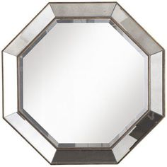 """Octagon Mirror  Antiqued Gold/Antiqued Silver  32""""W x 2""""D x 32""""H  Mirror and manufactured wood  NC lacquered finish  Exclusively Pier 1 Imports"""