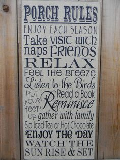 PORCH RULES typography subway large wood sign by AmericanAtHeart, $39.00