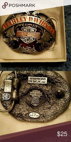 Harmony design Inc belt buckle Harley Davidson written in orange with motor cycles written in silver with black background 2 eagles on front nwt harmony design inc Accessories