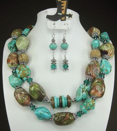 """Turquoise Simplicity ll "" -TURQUOISE / BROWN Chunky Western Cowgirl Necklace SET by www.CayaCowgirlCreations.etsy.com -  $55.00"