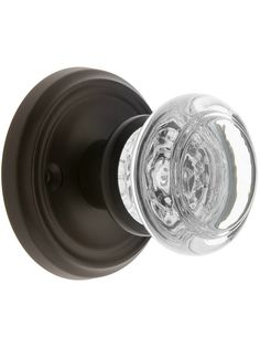Traditional Rosette Set With Round Glass Door Knobs Crystal Door Knobs, Glass Door Knobs, Sliding Glass Door, Interior Door Knobs, Black Door Handles, Linen Closet Organization, Door Sets, Black Doors, Antique Hardware