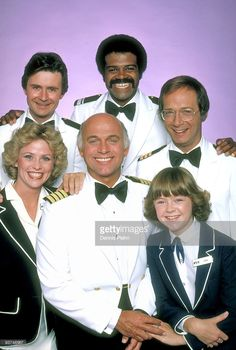 BOAT - gallery - Season Three - /79, Pictured, top row: Fred Grandy (Gopher), Ted Lange (Isaac), Bernie Kopell (Dr. Adam Bricker); bottom row: Lauren Tewes (Julie), Gavin MacLeod (Capt. Stubing), Jill Whelan (Vicki Stubing),