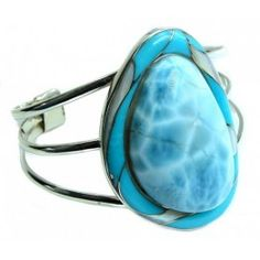 925 SOLID STERLING FINE SILVER ICE QUEEN! AAA BLUE LARIMAR BRACELET / CUFF