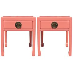 Charming Pair of Coral and Brass Nightstands | From a unique collection of antique and modern night stands at https://www.1stdibs.com/furniture/tables/night-stands/