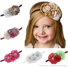 Baby Girl Flower Hair Accessories For Girls Infant Elastic Rhinestone Hair Band Baby Flower Headbands, Flower Hair Accessories, Flowers In Hair, Hair Band, Headpiece, Wedding Bands, Infant, Color, Ebay