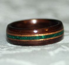Wooden Ring or Wedding Band with Stone Inlay Bent by MnMWoodworks, $155.00