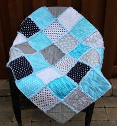 Baby Boy Rag Quilt, Blue Grey Aqua Crib Quilt, Handmade Baby Quilts for Sale, Boy Nursery Bedding Baby Quilt Size, Baby Rag Quilts, Baby Patchwork Quilt, Handmade Baby Quilts, Boy Quilts, Boy Nursery Bedding, Homemade Quilts, Place Mats Quilted, Toddler Quilt