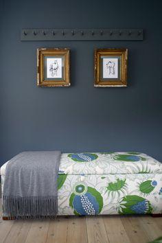 Christopher Farr - Carnival Green upholstered ottoman bench print