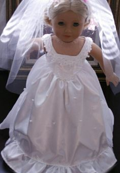 18'' American Girl Doll Clothes White Wedding Dress by gummidesign, $22.99