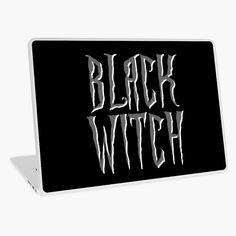 """""""Black witch, gray and white magical, fantasy font"""" Laptop Skin by cool-shirts 