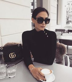 Image about girl in Rich 💰 by Kara on We Heart It New Fashion, Luxury Fashion, Coffee Shop Aesthetic, Big Sunglasses, Coffee Store, Nyfw Street Style, Coffee Girl, Aesthetic Photo, Black Blouse