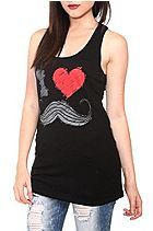 I (Heart) Mustaches Black Tank Top