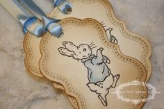 Peter Rabbit Tags Baby shower tags set of 5 by anistadesigns Peter Rabbit Gifts, Peter Rabbit Party, Easter Birthday Party, 2nd Birthday, Peter Rabbit Birthday, Baby Shower Tags, Baby Showers, Baby Event, Handmade Gift Tags