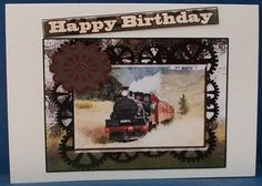 steam trains for all the great men in your life on Craftsuprint designed by Sally McIntyre - made by Cheryl French - Printed onto glossy photo paper. Attached base image to white card stock using ds tape. Built up image with 1mm foam pads. - Now available for download!