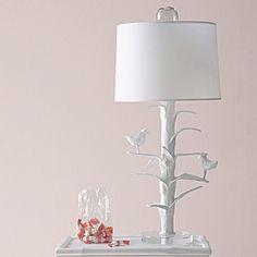 Designer Sarah Bird Lamp in White Papier Mache   Serena & Lily