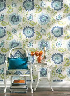 Jaco Floral Wallpaper in Blue, Green, and Ivory design by Carey Lind for York Wallcoverings