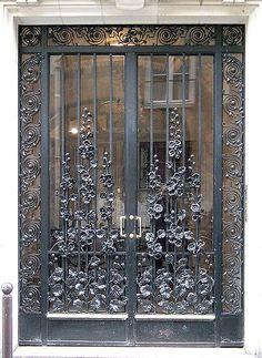hollyhock iron work on door Cool Doors, Unique Doors, The Doors, Entrance Doors, Doorway, Windows And Doors, Grand Entrance, Porte Design, When One Door Closes