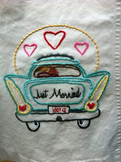 "embroidery stitches Kitschy fun ""just married"" dress embroidery for your honeymoon outfit Wedding Embroidery, Cute Embroidery, Vintage Embroidery, Cross Stitch Embroidery, Embroidery Patterns, Machine Embroidery, Quilt Patterns, Sewing Crafts, Sewing Projects"
