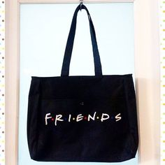 """Original vintage 90s """"Friends"""" TV show black canvas embroidered tote bag, measures 16"""" across by 14"""" high by 4"""" deep.  2 exterior pockets.  Please direct message if interested."""