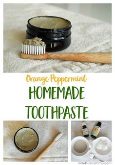 This Orange Peppermint Homemade Toothpaste is easy to make using natural ingredients like bentonite clay, coconut oil and essential oils.
